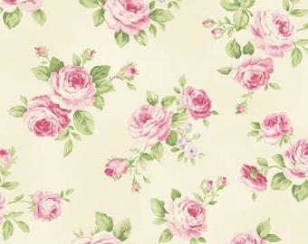 Ruru Bouquet Love Rose Love Cotton Fabric Rose ru2300-13a Roses on cream