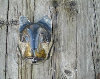 Vintage Wild Cat Mask // Carved Painted Wood Sculpture Head // Wooden Wall Hanging // Folk Tribal Art Artwork