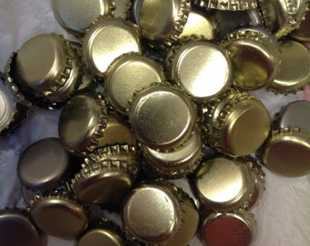 Group of 80+ Undented, Used Gold Bottle Caps