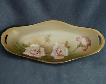Antique RS Germany Dish Tray Pink Flowers