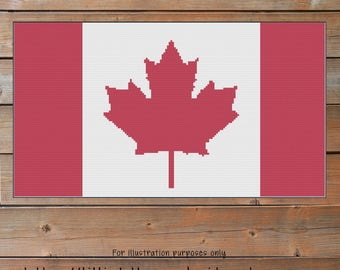 Canadian Flag Crochet Chart - Canada Graph Crochet - Maple Leaf - Corner to Corner - C2C - Written Line Counts - Cross Stitch