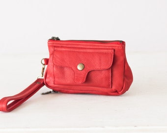 Wristlet wallet red leather, womens phone wallet with strap phone zipper wallet clutch phone case - Thalia Wallet