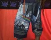 Pink Floyd dark side of moon rainbow grey scrappy patchwork harem pants ooak