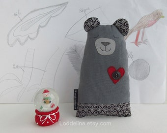 Valentino BEAR. soft fabric doll. grey with red heart.