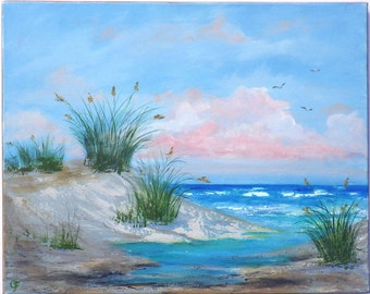 Beach painting with sand dunes, sea oats, sea grass, and and inlet. Ocean painting with pink clouds at dawn, 16x20 inches