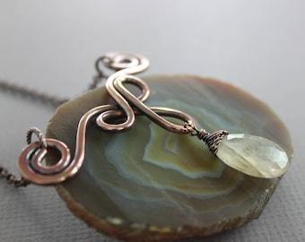WHILE SUPPLIES LAST - Celtic inspired copper necklace with golden rutilated quartz stone - Quartz necklace - Celtic necklace - Drop pendant