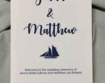 Wedding programs, 5 x 7 folded program with sailboat