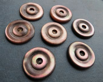 Vintage Brown Mother of Pearl Buttons Set of 7