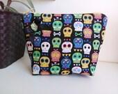 Mexican skulls  fabric small purse, make up bag , crafts  , handmade,Claudia Candeias, ready to ship
