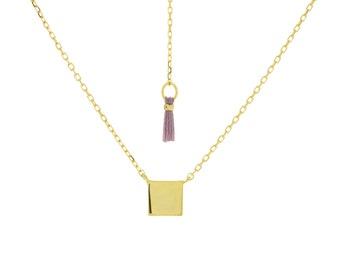 Tiny Square Necklace Gold or Rose Gold| Gold Necklace | Delicate Jewelry