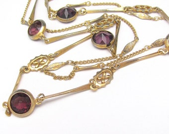 Vintage Bezel Set Crystal Necklace, Double Bar Chain, Goldtone Multi Chain Necklace, Amethyst Purple Crystals