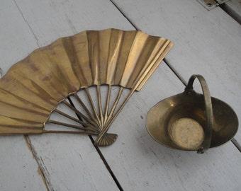 Vintage Brass Fan Basket