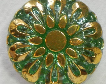 Pillow Flower Czech Glass Button