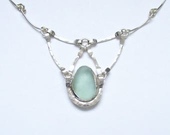 Sea Glass Jewelry - Sterling Sea Foam Sea Glass Necklace with Handmade Chain