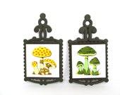 Vintage Mushroom Tile Trivet Pair
