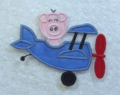 Pig in a Plane Fabric Embroidered Iron on Applique Patch Ready to Ship