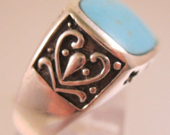 Vintage Turquoise Sterling Silver Ring Size 8