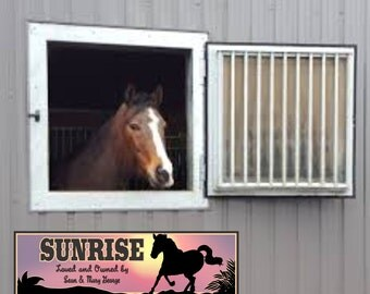 Personalized Horse Stall Sign with Sunset and Horse Silhouette, Horse Lovers, Barn Decor, Country Decor, Custom Horse Gifts C1392