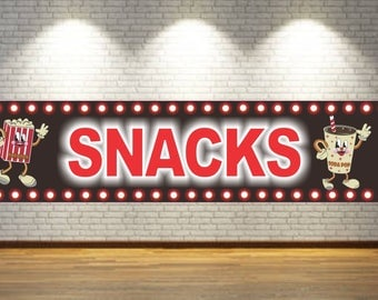 Home Cinema Snacks Sign with Popcorn, Soda, and Faux Flashbulb Effect Border SS1010