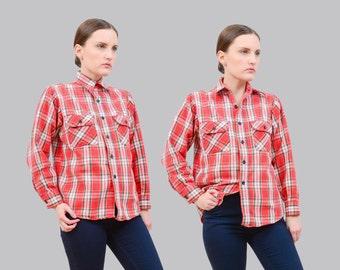Vintage 70s Plaid Shirt | Cotton Flannel Button Down Shirt | Fitted Shirt | Long Sleeve Boyfriend Shirt | Orange Gray White | Small XS S