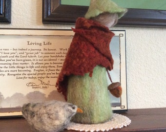 One Of A Kind Soft Sculpture Needle Felt Wool Peasant Woman With Chicken