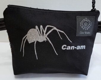 Can-Am Spyder zipper pouch with silver glitter spider and silver sequin fabric