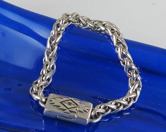Chunky Sterling Silver Chain Bracelet w/ Southwest Magnetic Clasp - Southwest Heavy Sterling Silver Chain Bracelet Size 6 w/ Magnetic Clasp