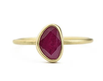 14K Gold Rose Cut Ruby Ring, One of a Kind 14K Gold Freeform Ruby Ring