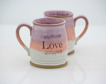 Ceramic mug - pink handmade mug - Love mug - 8 oz mug -coffee mug - tea cup -  pottery mug - holiday gift - teacher gift