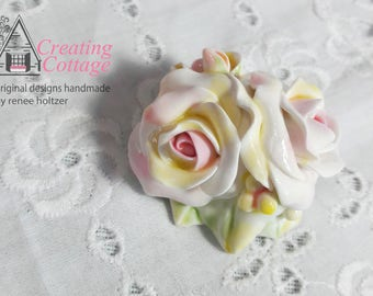 Pink Roses, Yellow Roses, Springtime Roses, Shabby Chic Brooch, Cottage Style Pin, CreatingCottage, Price Drop, Discount, Sale
