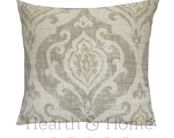 Cream Sand Ikat Damask Pillow Cover  , Cotton Linen Blend, 18 x 18, 20 x 20, Throw Pillow , Damask Accent Pillow, Ivory  Ikat , Tan Pillow