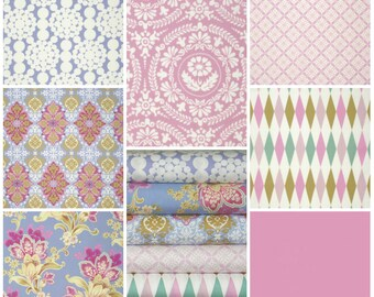 7 fat Quarter NOSTALGIA collection by Jennifer Paganelli ... Free Spirit Fabric
