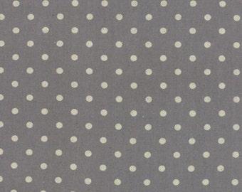 Linen MOCHI DOT in Graphite .. Moda Fabric .. cotton/linen blend 32910 28L  dots on grey