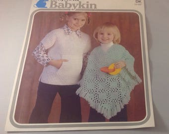 Vintage Knitting and Crichet Pattern , Childs Poncho and Jumper with Pocket