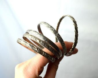 Lot of 5 FIVE Vintage 925 Sterling Silver Mexico Bracelets Flower Stacking Gypsy Bangles
