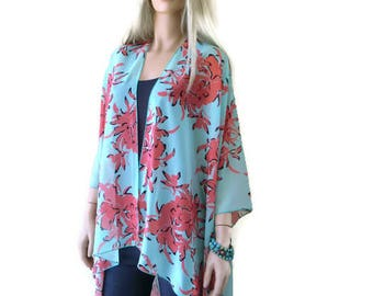 Dusty Jade coral red-Oversize kimono -Bold floral kimono-Beach Pareo--oversize chiffon kimono-Ruana