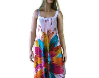 White beach dress with colorful  Feather print  -voile summer dress- Long summer dress/pareo/Cruise/vacation fashion--Free size