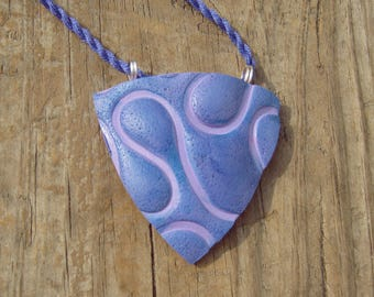 Purple Curves Shield Pendant with Watercolor Effect on Indigo Twisted Cord - Silver Plated Clasp - One of a Kind Birthday Gift for Her