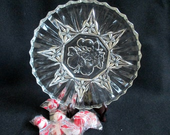 Pressed Glass plate, Brilliant Glass, Candy Dish, Glass Serving Dish, Fancy Glass, Cabinet Plate