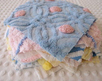 "Vintage Chenille Fabric Quilt Squares - 15 - 8"" blue, pink & yellow, all different - 500-106"