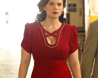 Agent Carter cosplay inspired custom made pencil dress retro