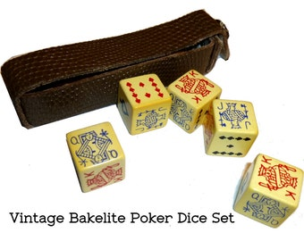 Set of 5 Poker Bakelite Dice & Case. Great Graphics. Play Dice Poker. 1950s Fun. Guaranteed and Tested Bakelite. Travel Dice Game.