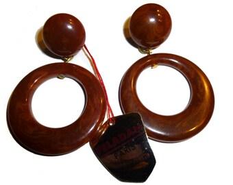 """Vintage Bakelite Dangle Earrings. Original Hang Tag Paris.  Brown Bakelite Clip On Earrings. Made in France by """"Peladan"""". Circa 1950s."""