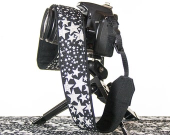 dSLR Camera Strap, Stars, SLR, Canon camera strap, Nikon camera strap, Camera Neck Strap, Pocket, Glitter, photography,  160