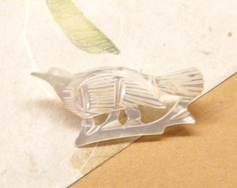 Vintage Brooch Pin, Bird Brooch, Mother of Pearl, Shell Pin, Hand Carved, Jerusalem, ANIMAL CHARITY DONATION