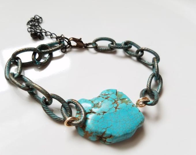 turquoise chain bracelet, boho stone bracelet, gemstone bracelet, minimalist bracelet, stacking bracelet, dainty bracelet, stone bracelet