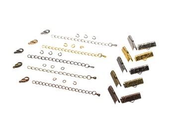 20mm  ( 3/4 inch )  Ribbon Choker or Ribbon Bracelet Findings Kit - Bronze, Gold, Silver, Gunmetal, Copper, or Mixed - Artisan & Dots Series