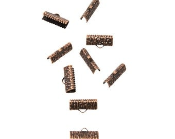 50 pieces  20mm  (3/4 inch) Antique Copper Ribbon Clamp End Crimps - Artisan Series