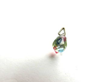 Art Deco Iris Glass Crystal Drop Pendant Charm Bits Pieces Vintage Parts Supply Rainbow