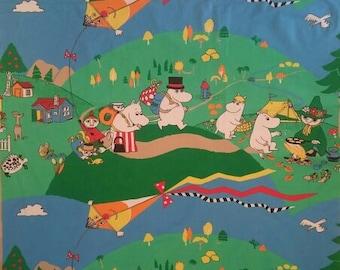 vintage Moomin fabric Camping with Snufkin Snorkmaiden Moominpappa cotton tillukka